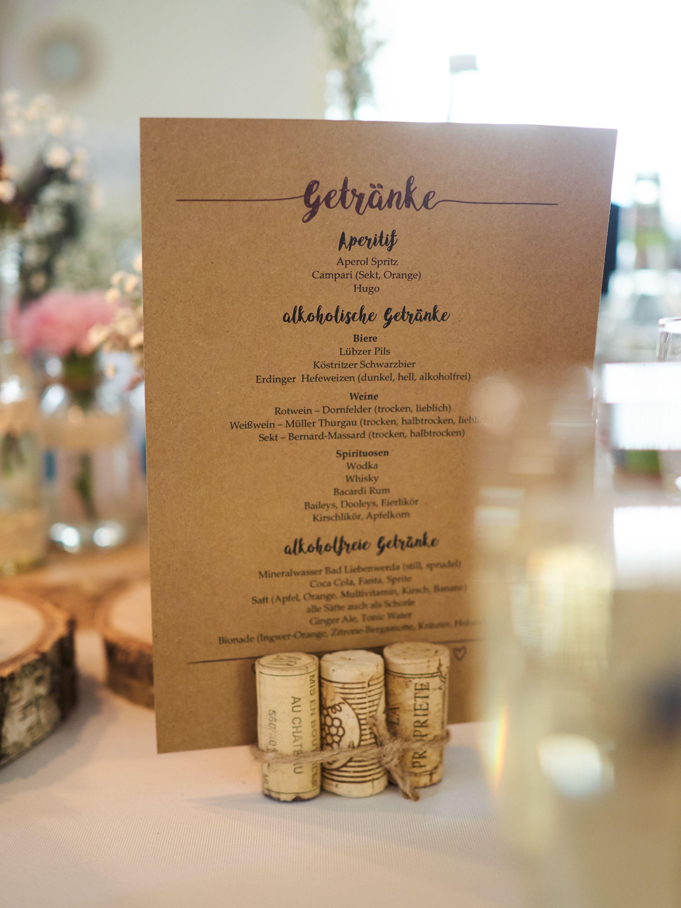 Getrnkekarte  Unsere Hochzeit  Pinterest  Wedding