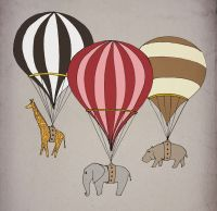 Elephant giraffe hippo Hot air balloon Archival Art Print ...