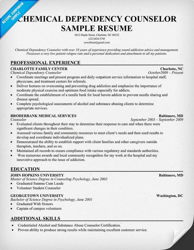 Resume Examples Chemical Dependency Counselor