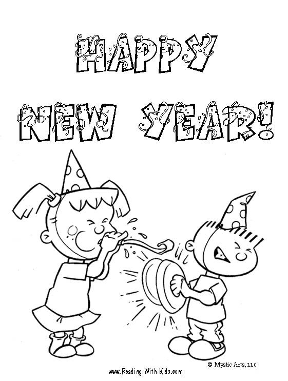 Free New Year's Eve coloring pages and learning activities