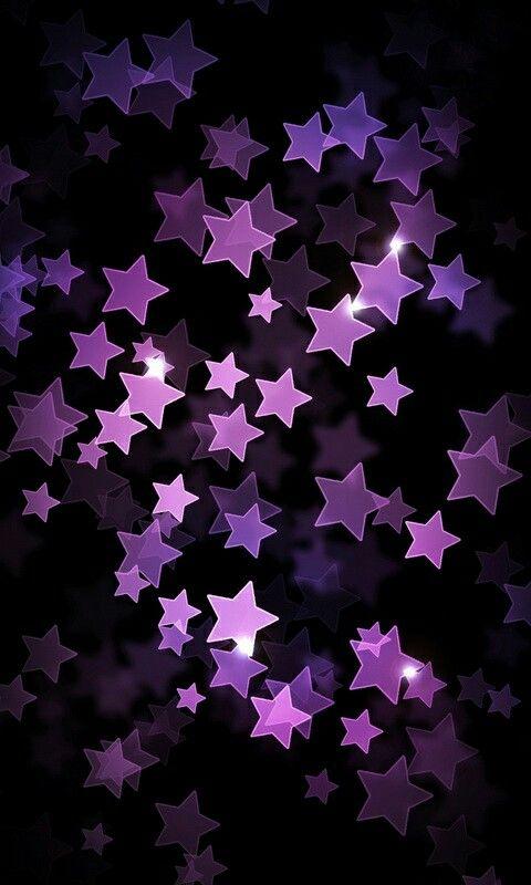 Falling Gold Sparkles Wallpaper Purple 3d Stars On Black Color Iphone Wallpaper Lock