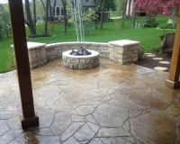 , Traditional Stamped Concrete Patio Ideas With ...