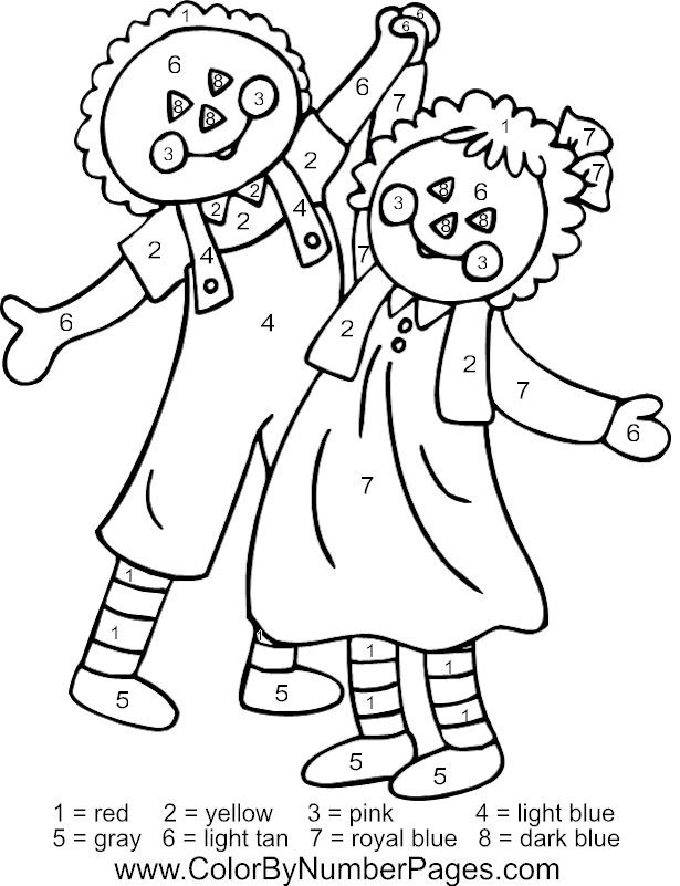 Raggedy Ann & Andy color by number page http://www