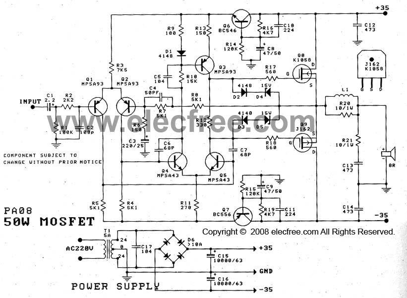 Power Amplifier OCL 50W by Mosfet (K1058 + J162