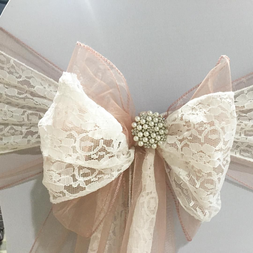 chair covers for weddings pinterest elegant & event decor orland park il dusky pink organza sash doubled up with white lace