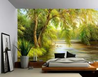 Tree River Bank Summer Landscape - Large Wall Mural, Self ...