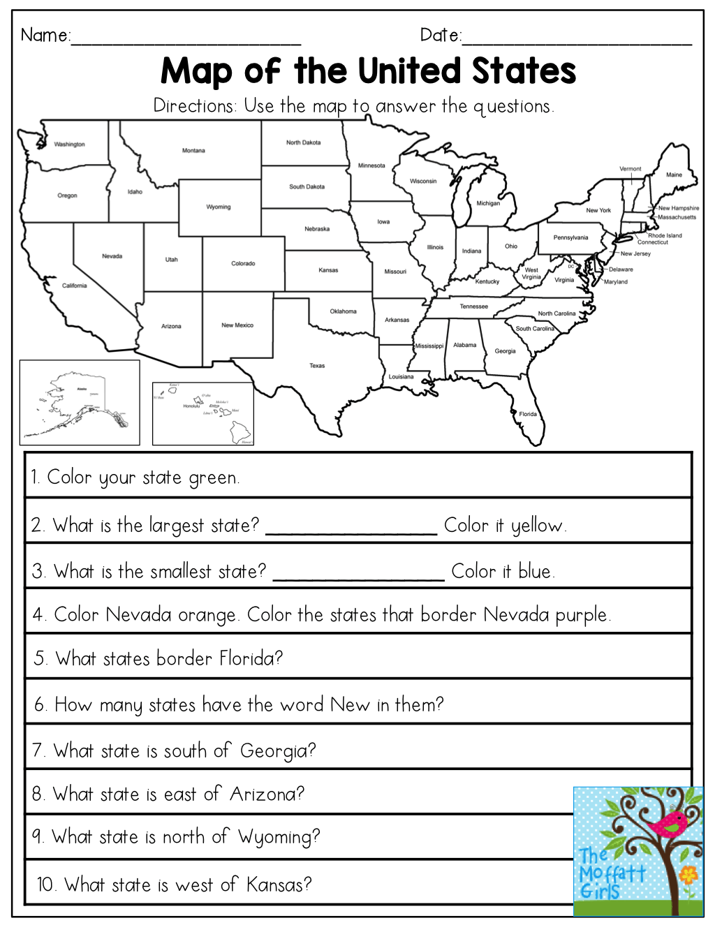 Map Of The United States Answer The Questions This