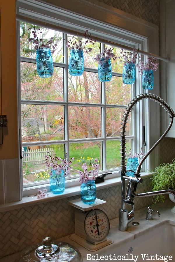 Mason Jar Window Treatment  New Blue Mason Jars Giveaway