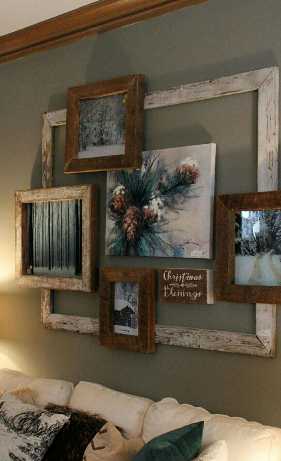 Collage of old frames makes  rustic  eye catching focal point in your room living wall decor ideas above couchabove door also rh pinterest