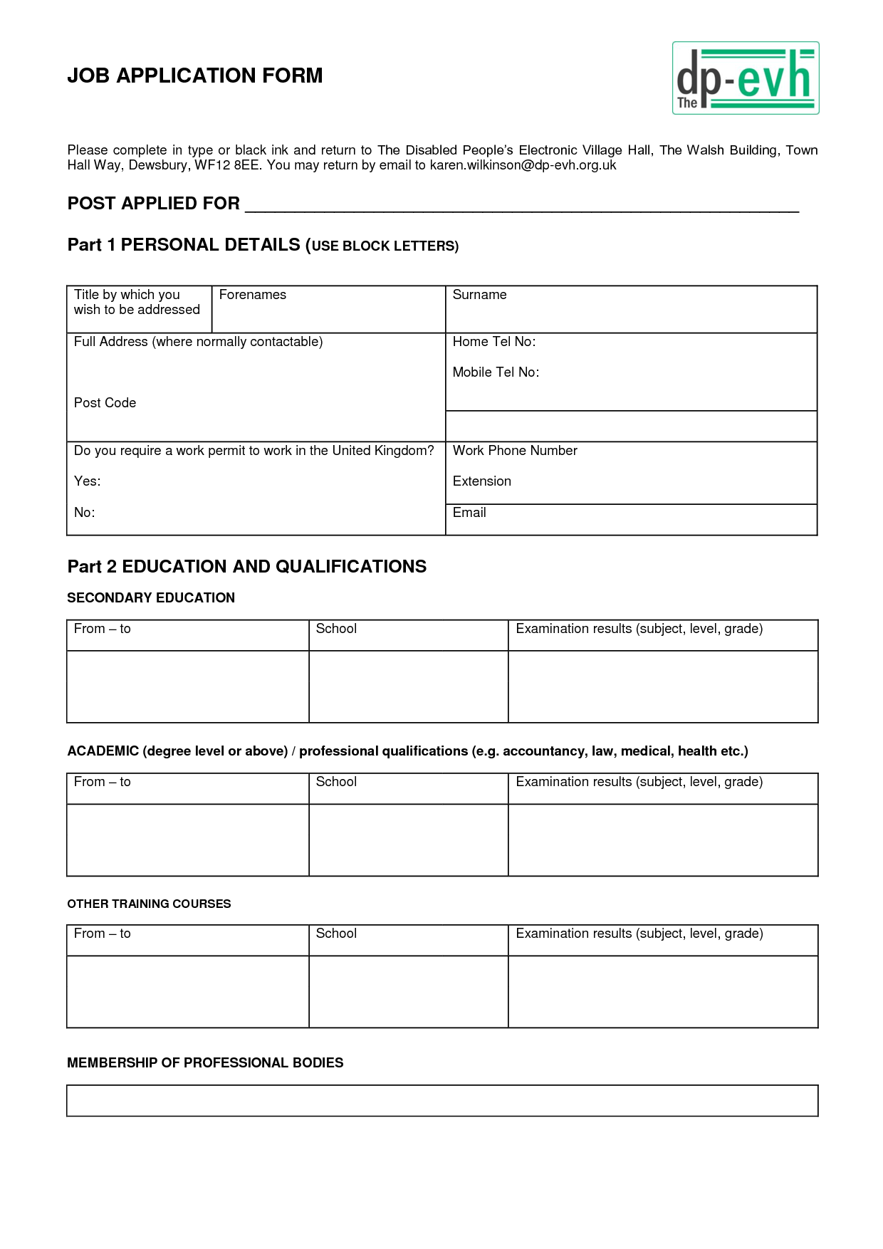 Printable Blank Application For Employment Application Form