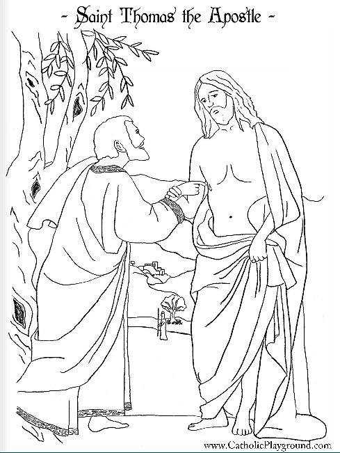 Saint Thomas the Apostle Catholic coloring page: Patron of
