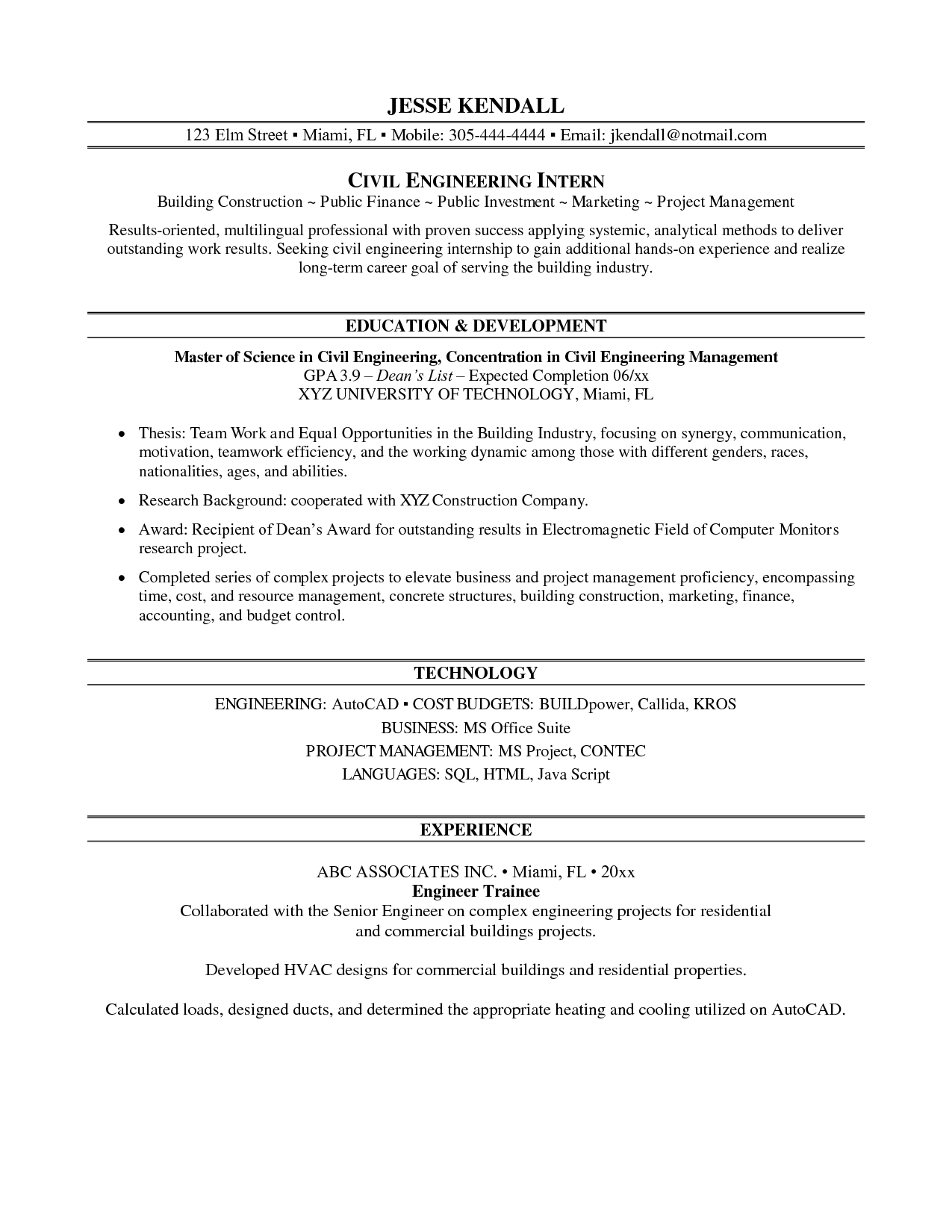 Internship On Resume Best Template Collection