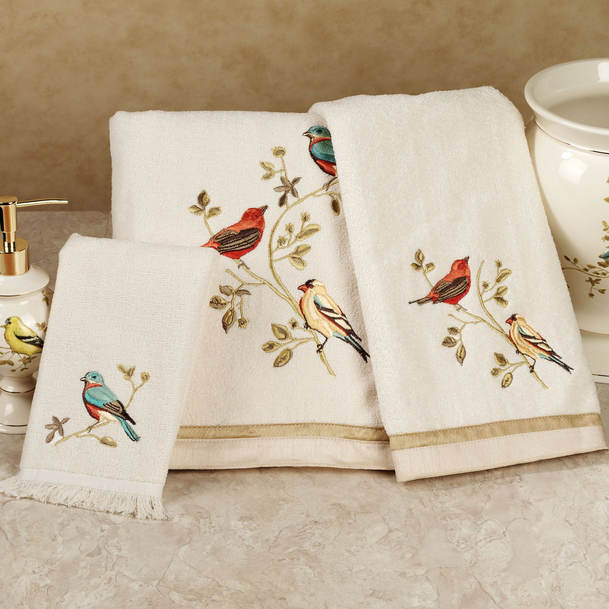 Gilded Bird Embroidered Bath Towel Set  Sweet Hands and Bath towel sets