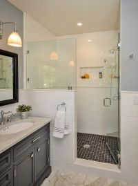 How to build a half wall shower bathroom traditional with ...