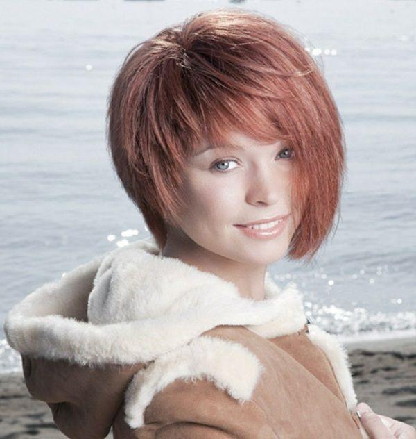 Rote Haaren Mit Pony Asymmetrisch Gestylt Kurzhaar Frisuren