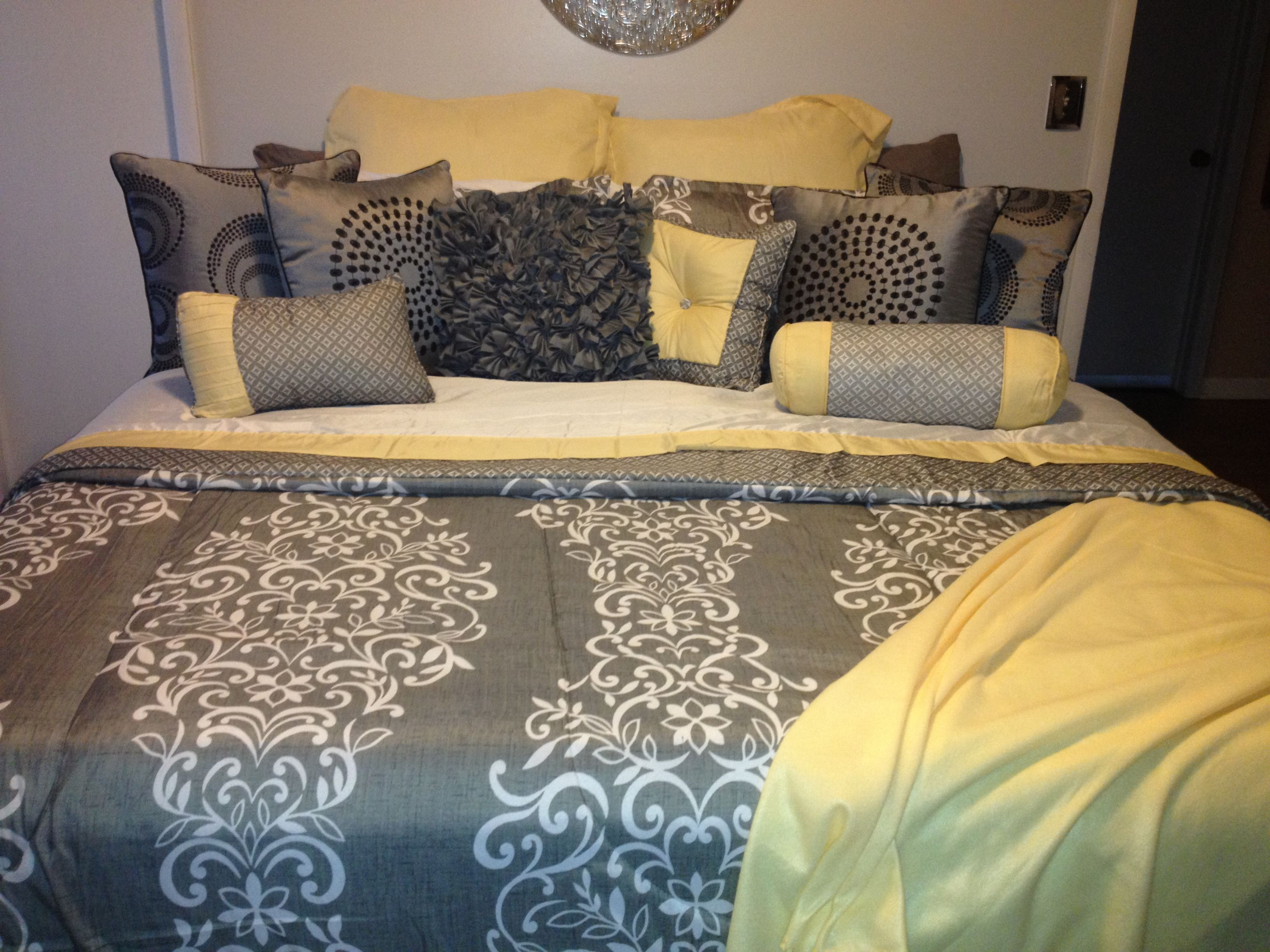 My Yellow and gray bedding :)