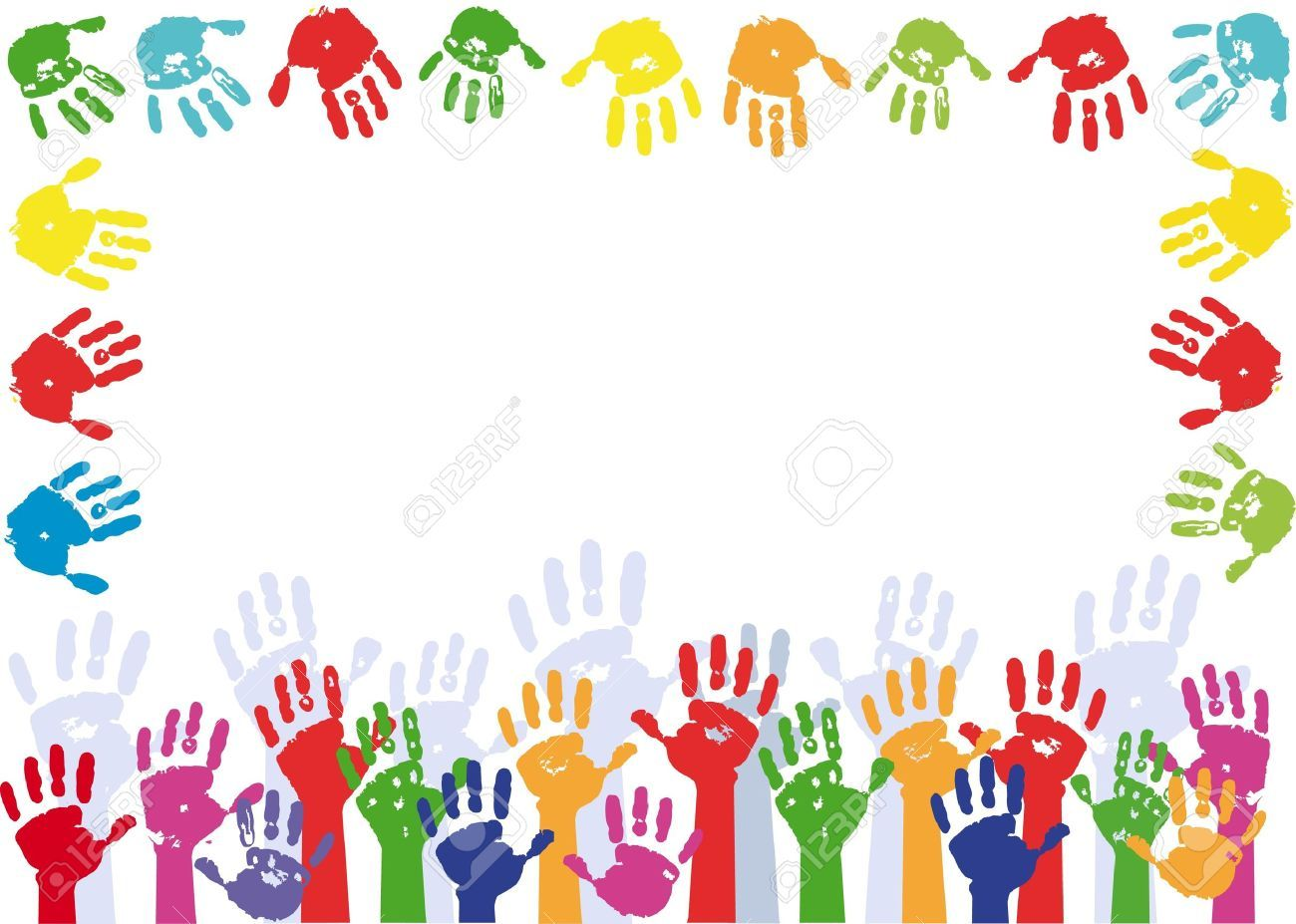 Color Hands Palms Background Frame For Text Stock