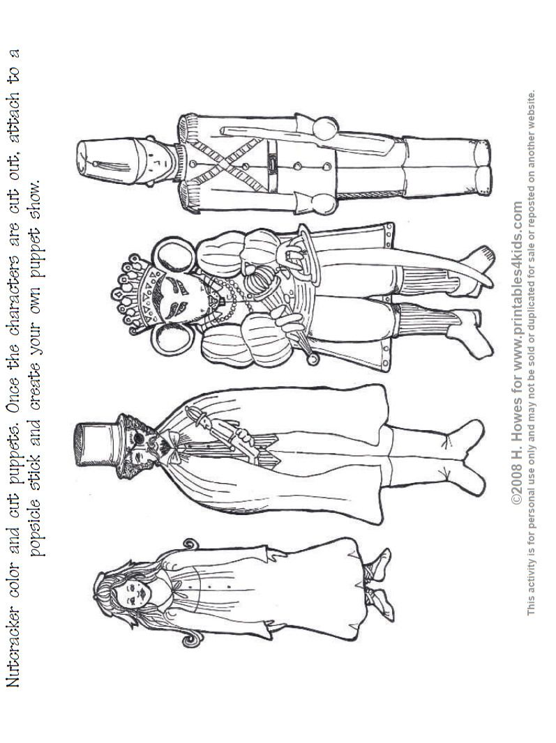 Nutcracker Print and Color Puppets : Printables for Kids
