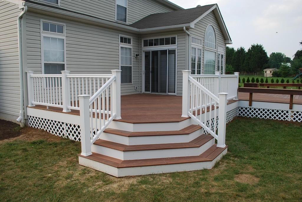 deck designs  Brazilian Redwood deck with flared stairs  Accessories Photo Gallery