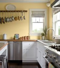 Kitchen, Pale Yellow Wall Color With White Kitchen Cabinet