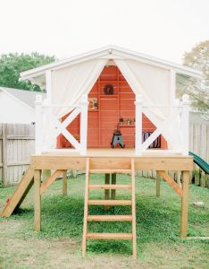 Handmade playhouse in backyard for child   first birthday party also best images on pinterest rh