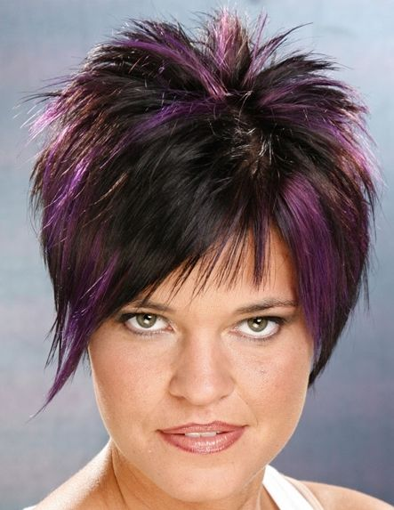 Picture Of Short Hairstyle With Violet Highlights On Black Hair