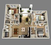 3D open floor plan 3 bedroom 2 bathroom - Google Search ...