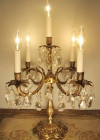 Vintage Candelabra Table Lamp Solid Brass & Crystals ~ 5 ...