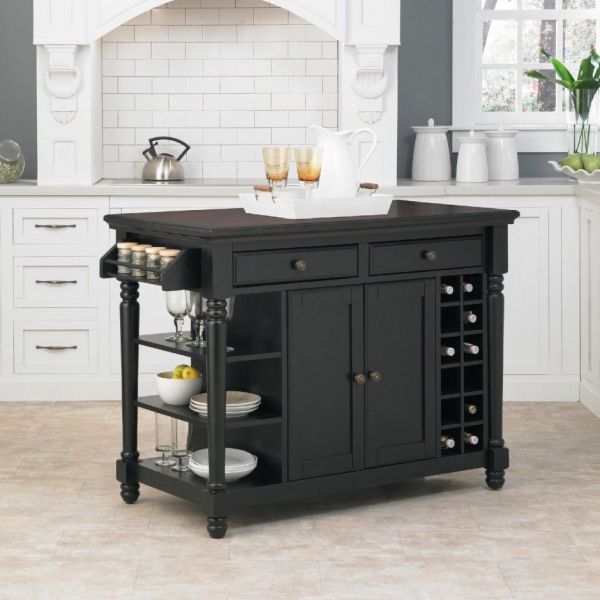 Kitchen Island Black Portable With Drawers