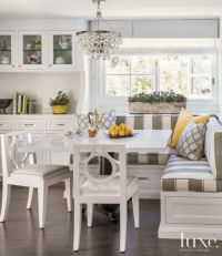 Transitional White Breakfast Nook with Striped Banquette ...
