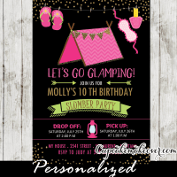 Sleepover Camping Birthday Invitations, Girls Glamping ...