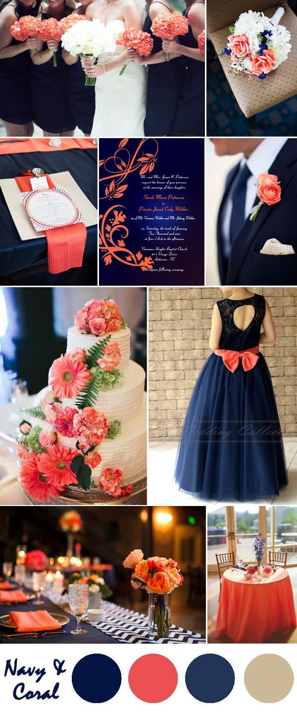 Ten Most Gorgeous Navy Blue Wedding Color Palette Ideas For 2016  Coral country weddings