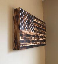 Burnt American Flag Wooden Gun Rack Hidden Gun Cabinet ...