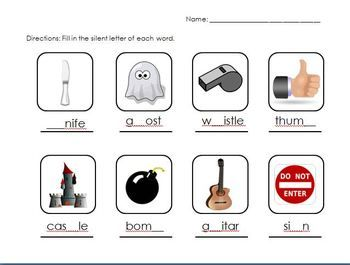 This Silent Letters worksheet is a nice companion to my