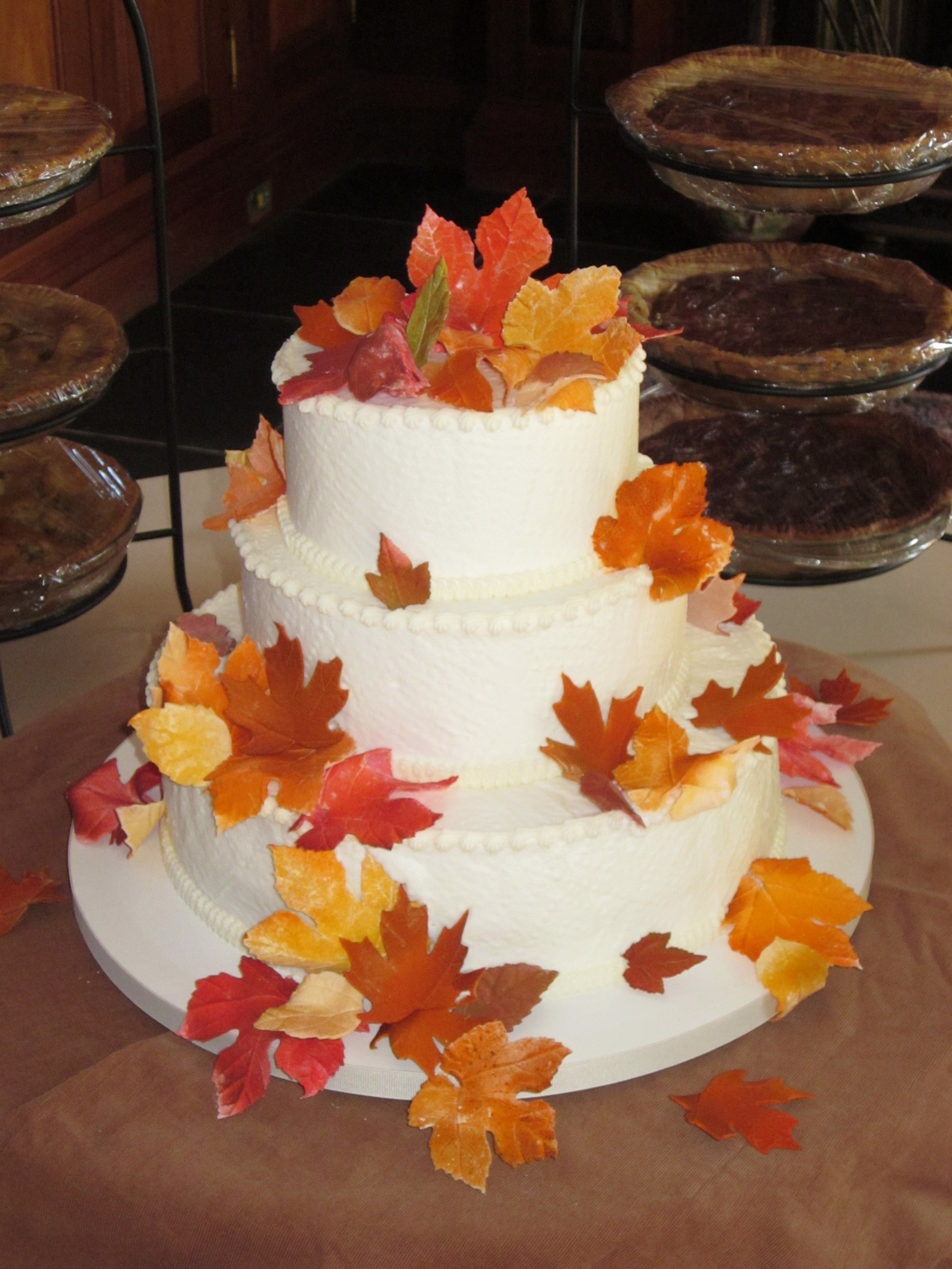 Fondant Fall Leaves Adorn This Simple Wedding Cake In
