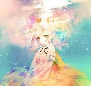 anime girl underwater rainbow