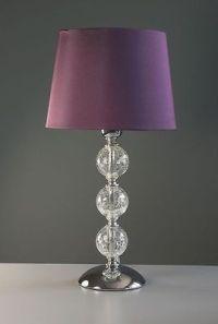 Plum Purple Bedside Table Lamp 3 Crackle Glass Balls Faux ...