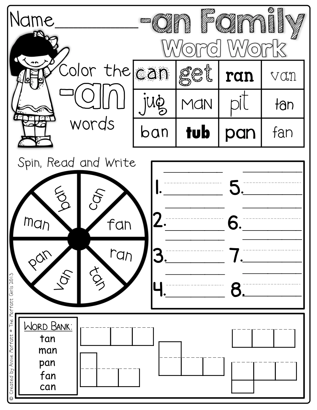 Word Family Word Work So Many Fun And Engaging Activities On One Page Spin The Spinner Color