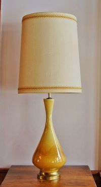 Mid Century Ceramic Lamp, Danish Modern Yellow Caramel ...