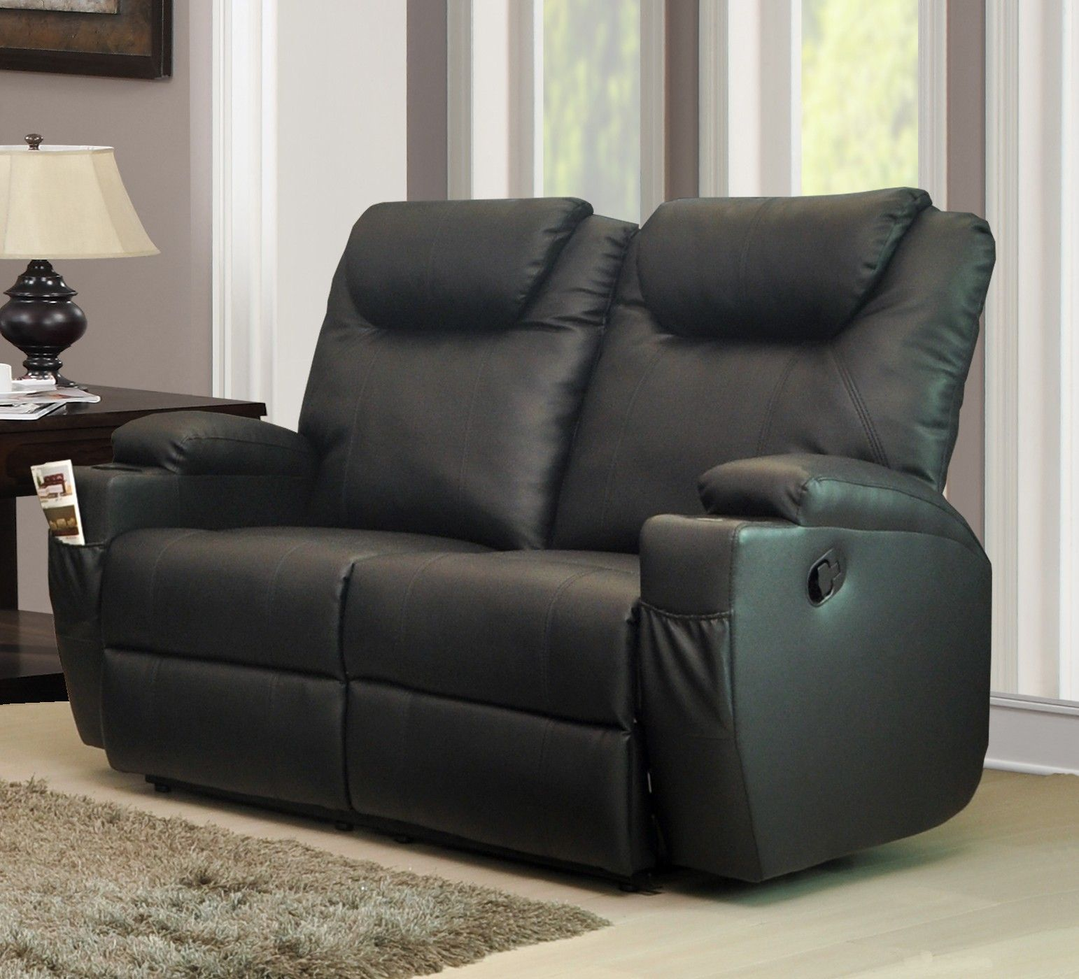 lazyboy leather sofas vitra sofa polder furniture living room black full grain reclining