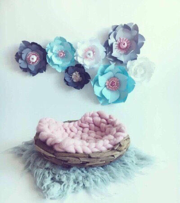Large paper flowers light blue room wall decor baby girl nursery bedroom white gray flower kid giant floral also rh pinterest