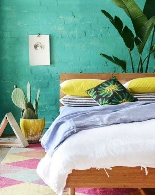 Summervibes colorful green blue yellow patterns architecture and home tropical bedroom decortropical also rh pinterest