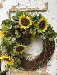 Sunflower Wreath Rustic Summer Wreath Front Door Wreath ...