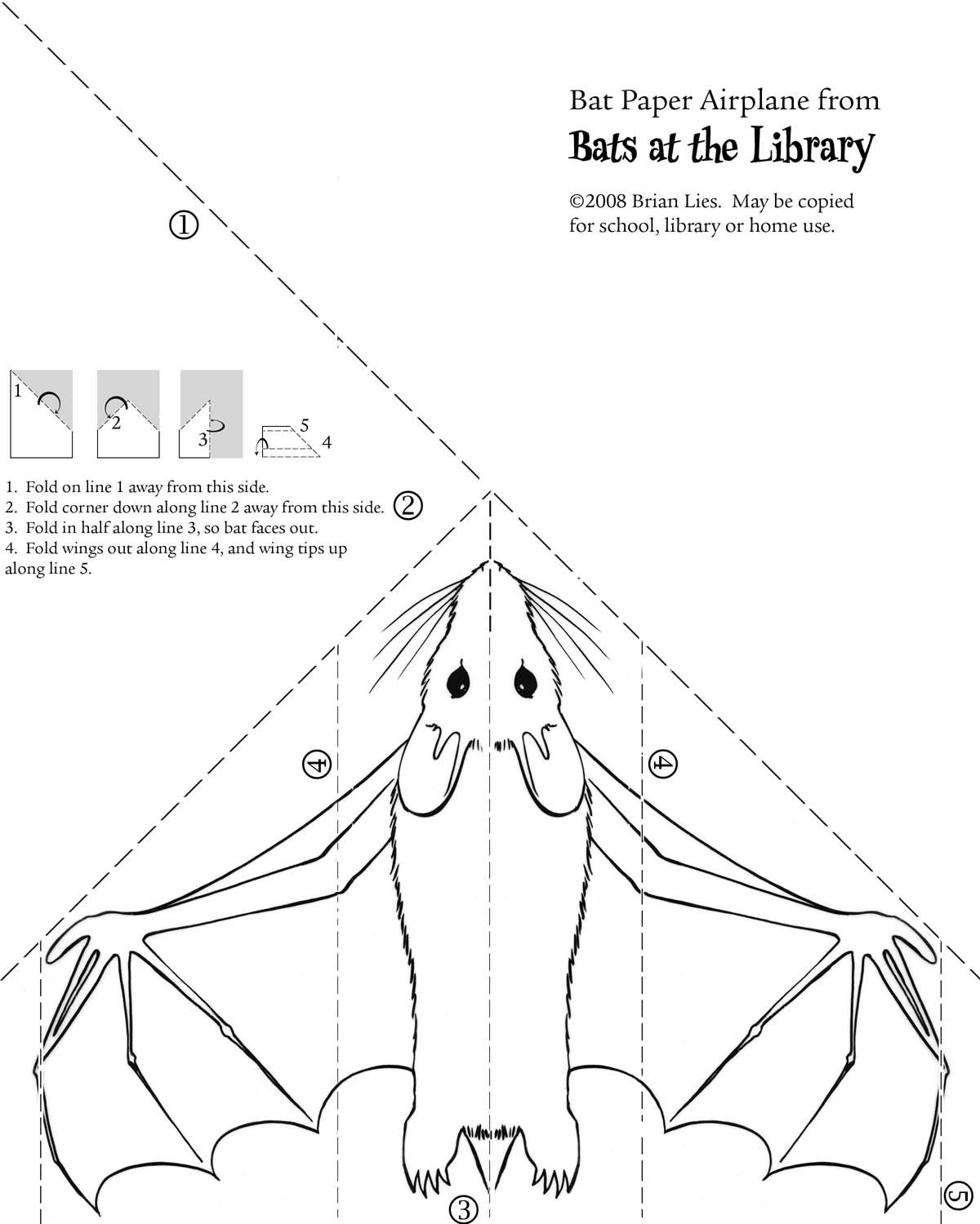 Bat Paper Airplane From Bats At The Library By Brian Lies