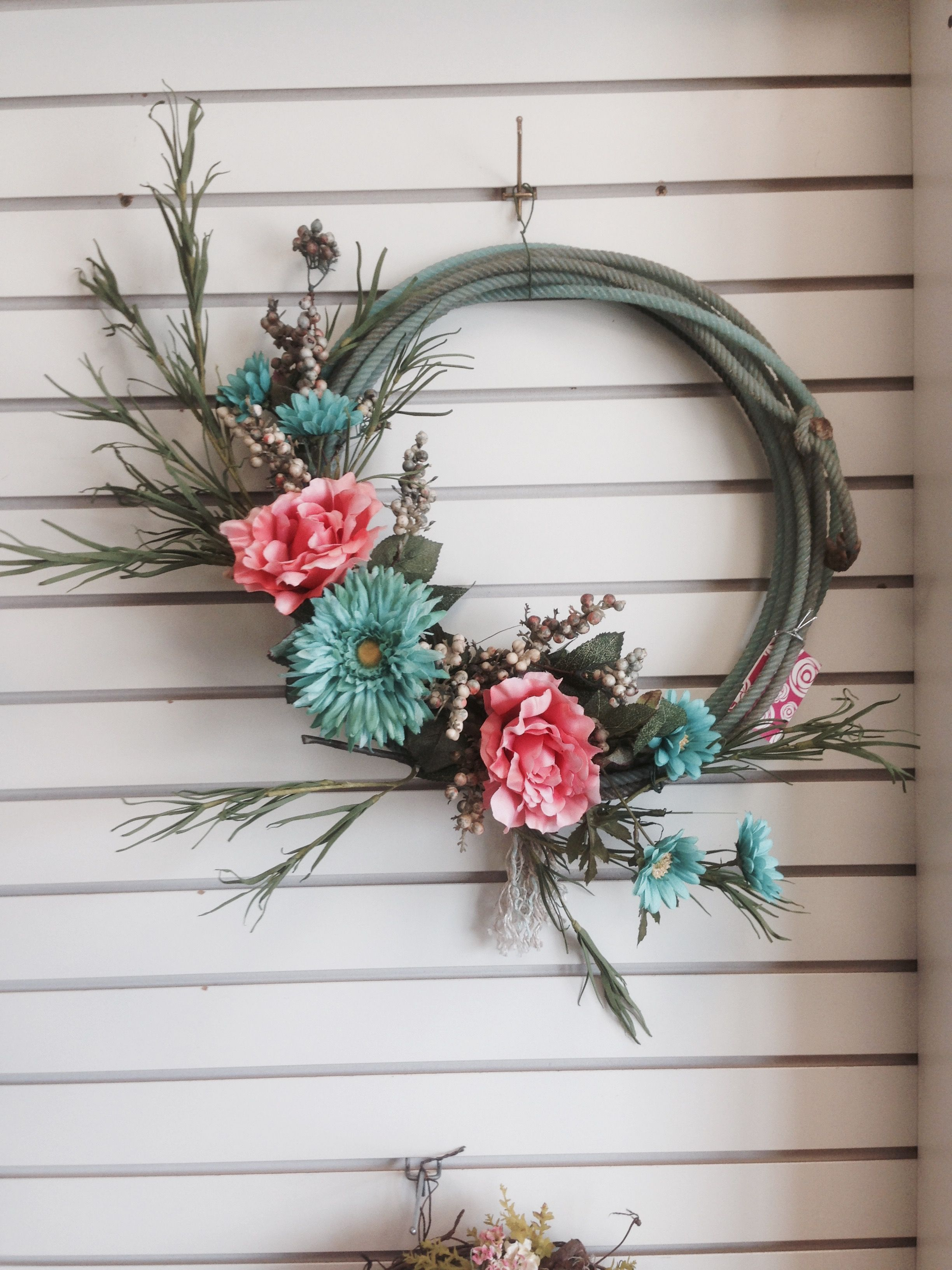 Rustic Merry Christmas Signs Mint Sunflower, Pink Peony Lariat Rope Wreath. Western
