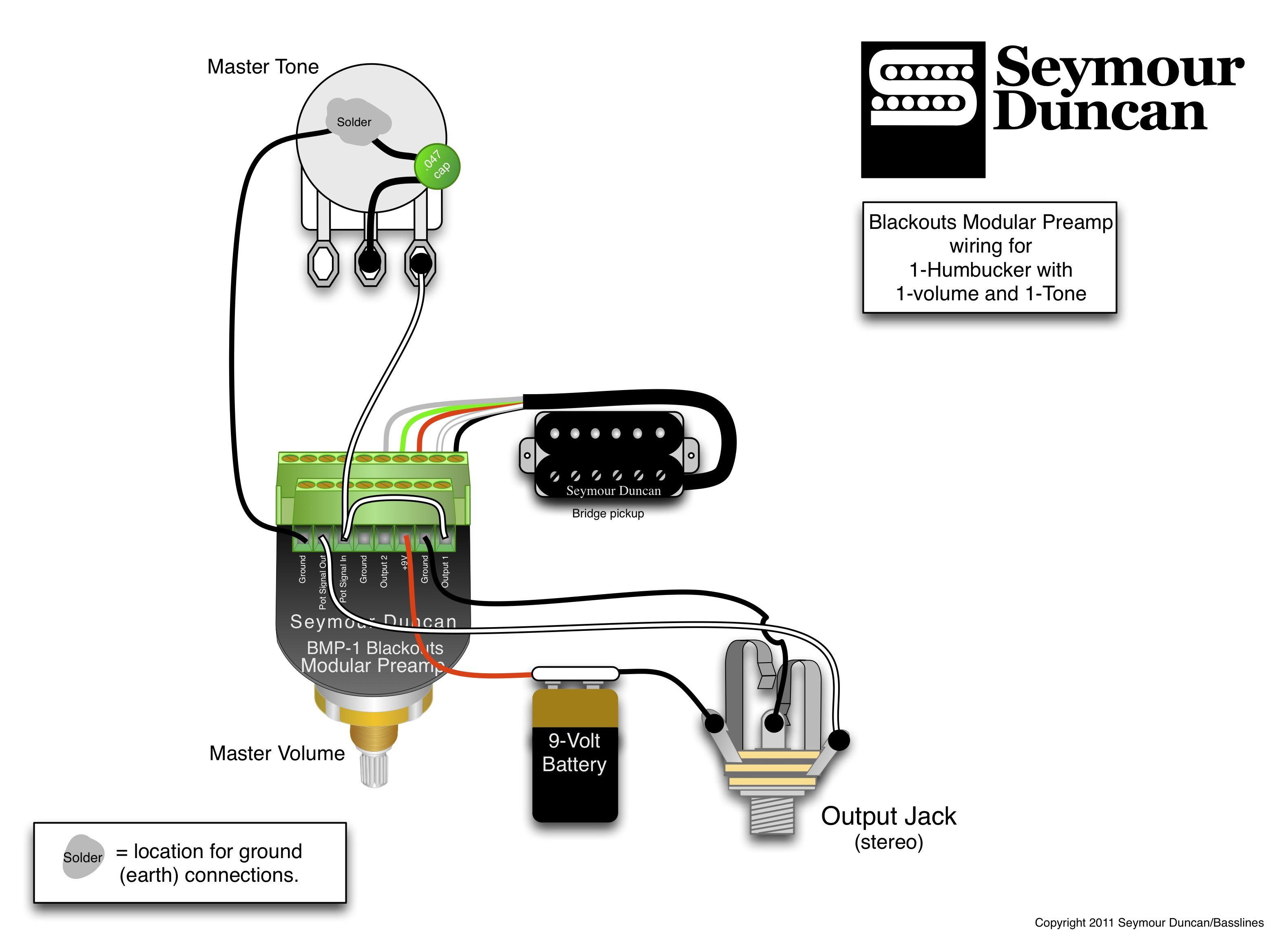 wiring diagram seymour duncan vtec obd1 blackouts modular preamp for 1 humbucker with
