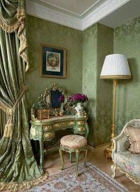 Jade green French room with damask wall covering, formal ...