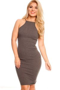 Olive high neckline stretchy fitted casual dress | Outfits ...