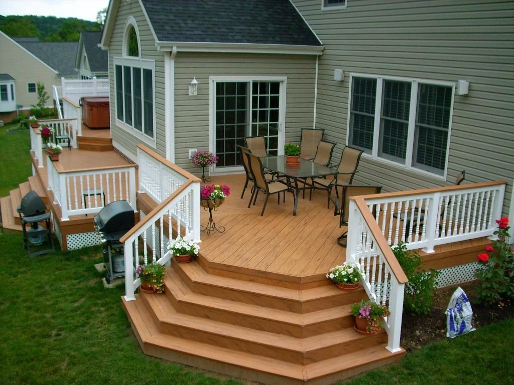 I Like This Railing Idea Then You Could Have A Wood Deck And Tie It To The White Fence Idea For Level Of Our Deck Then Steps Down To Ground Level Patio