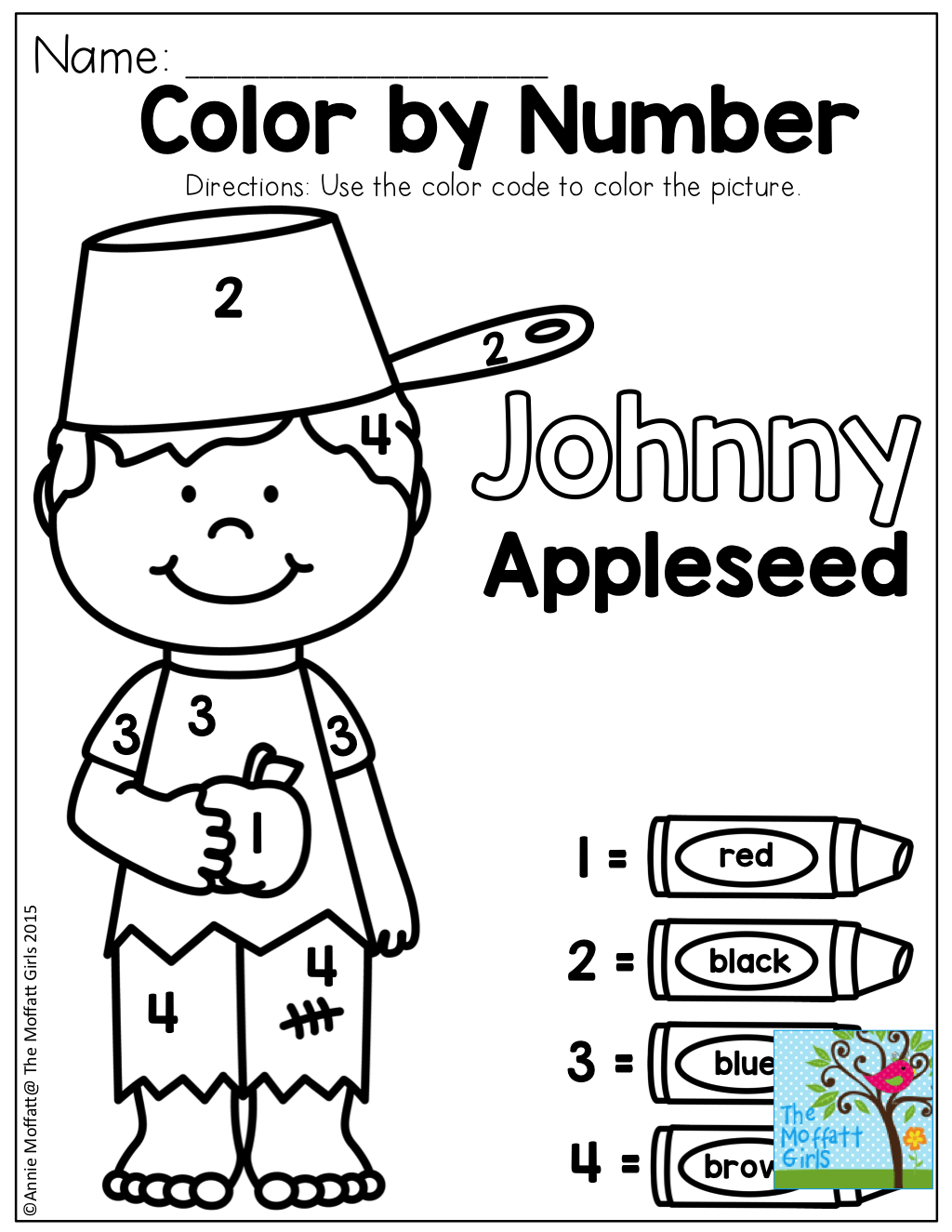 Color By Number With Johnny Appleseed Tons Of Fun Printables To Practice Basic Skills
